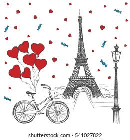 Фотообои Paris sketch illustration