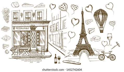 Paris sketch illustration. Set of hand drawn French icons.