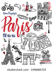 Paris sketch illustration. Set of hand drawn French icons, Paris sketch illustration, doodle elements, Isolated national elements made in vector. Travel to France icons for cards and web pages.