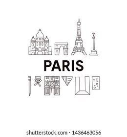 Paris skyline. Cute And Funny Doodle Style. Vector illustration. Original design for souvenirs