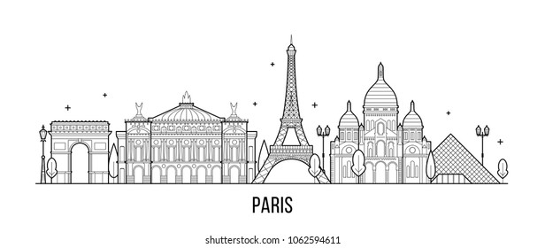 Paris skyline, France. This illustration represents the city with its most notable buildings. Vector is fully editable, every object is holistic and movable