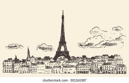 Paris skyline, France, with view at Eiffel Tower, vintage engraved illustration, hand drawn