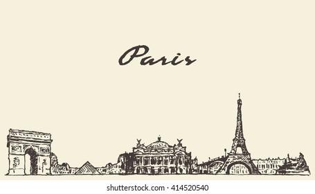 Paris skyline, France, vintage engraved illustration, hand drawn