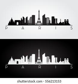 Paris skyline and landmarks silhouette, black and white design, vector illustration.