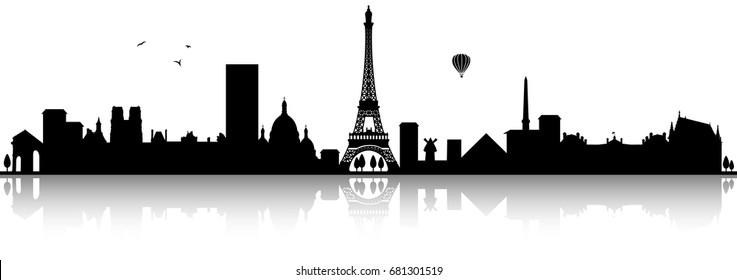 paris skyline silhouette black