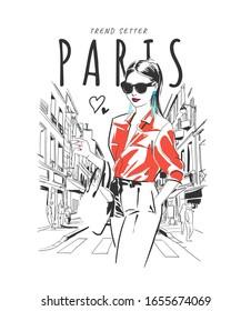 Paris slogan with fashion girl hand sketch on city background illustration