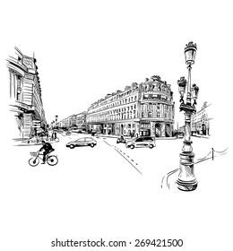 Paris street hand drawn, vector illustration