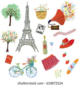 Paris summer picnic set of design elements - funny style, vector graphic illustration
