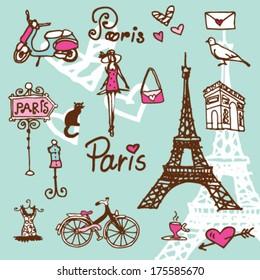 Фотообои Paris symbols doodle - background