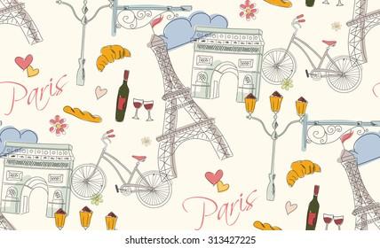 Paris symbols, postcard, seamless pattern, hand drawn, vector illustration