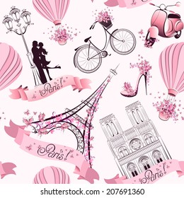 Paris symbols seamless pattern. Romantic travel in Paris. Vector