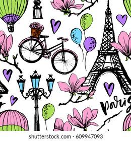 Фотообои Paris symbols seamless pattern. Romantic travel in Paris. Magnolia blossom. Eiffel tower.
