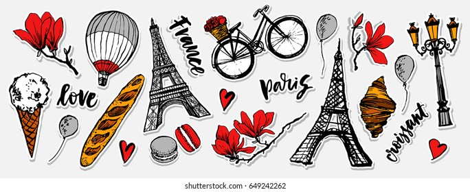 Paris symbols stickers set. Romantic travel in Paris. Baguette, croissant, ice cream, macarons. Magnolia blossom. Embroidery design. Tourism souvenir. Eiffel Tower.