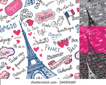 Paris symbols,lettering,emblems in seamless pattern,background set.Hand drawn doodle sketchy.French words good travel,Speak French,hello,life is beautiful,Eiffel tower,love,i love you.Colored Vector