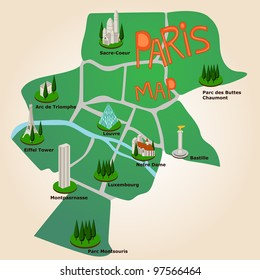paris tourist map with the most important places to visit