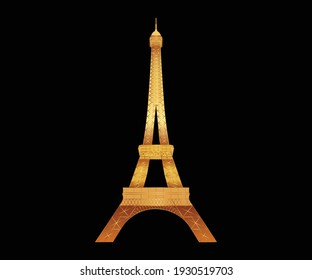 Paris Tower in golden vector illustration