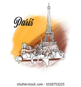 Paris Travel Sign. hand drawn outline illustration for print design and travel marketing