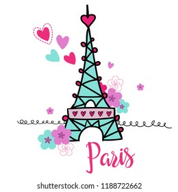 Paris . Typography graphic print, Abstract fashion drawing for t-shirts. creative design for girls. Illustration in modern style for clothes. Girlish print