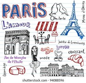 Paris vector doodles