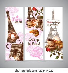 Paris vertical banners with sketch eiffel tower coffee cup and croissant isolated vector illustration