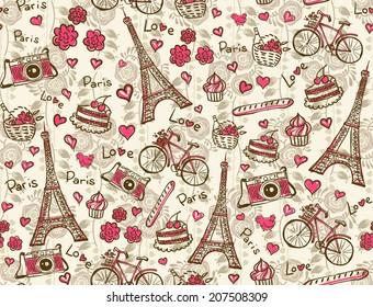 Paris vintage background. Seamless vector pattern.