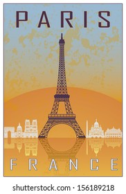 Paris vintage poster in orange and blue textured background with skyiine in white
