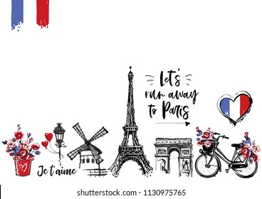 Paris vintage watercolor illustration card template. France capital romantic illustration in beautiful style. Vector sketches set on white background