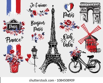 Paris vintage watercolor illustration set. Romantic illustration in beautiful style. Vector sketches set on white background with inscriptions I love you, good morning Paris, Oh dear in French