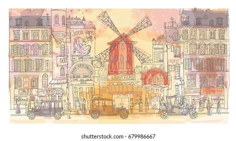 Paris in watercolor, Moulin rouge - vector illustration