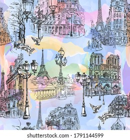 Paris - Watercolor seamless wallpaper. Parisian streets, Notre Dame, cafes and the Seine embankment overlooking the Eiffel Tower