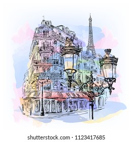 Paris - watercolor sketch. Parisian streets with houses, the Eiffel Tower, lanterns and street cafes