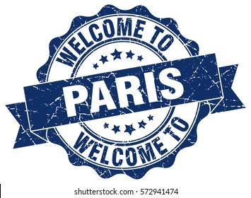 Paris. Welcome to Paris stamp