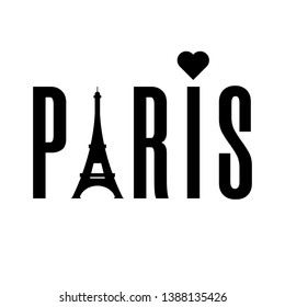 Paris word with eiffel tower isolated on white background. Black label or logotype. Clean and modern vector illustration for design, web.