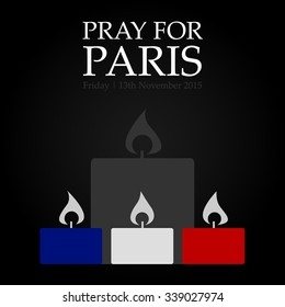 """PARIS/FRANCE - Friday, 13th November 2015. People from around the world shares images with sign """"PRAY FOR PARIS"""" after a series of coordinated terror attacks across Paris. Vector illustration."""
