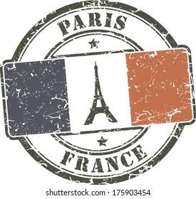 Paris-France grunge stamp; eiffel tower