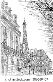 Paris.Ssketch of Parisian street with trees and the Eiffel Tower in the background