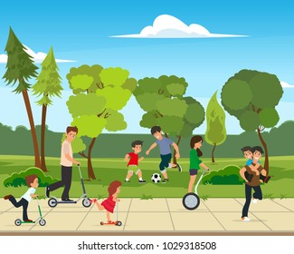 Park activities vector illustration. children play in the park with their parents.