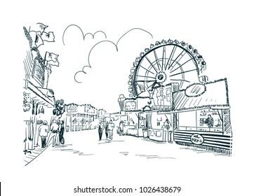 park amusement vector sketch illustration