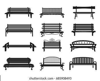 Park bench black set. Comfy urban long seat made of wood or metal, place for rest, enjoyment and recreation. Vector flat style illustration isolated on white background