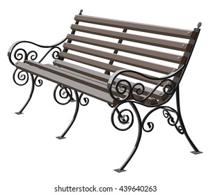 Park bench isolated over a white background, wrought-iron bench, vector illustration of outdoor bench