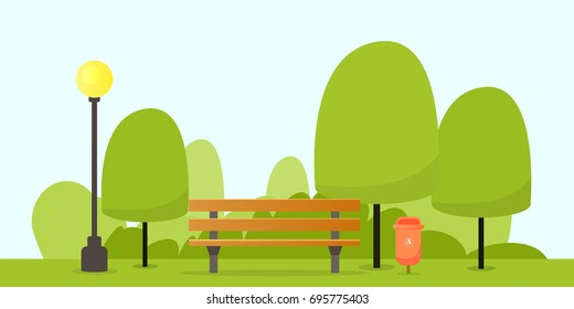 Park with bench and streetlight vector illustration