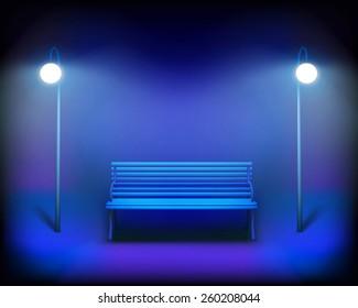 Park bench. Vector Illustration.