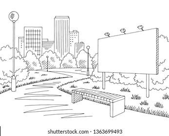 Park billboard graphic black white city landscape sketch illustration vector