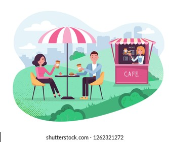 Park cafe with umbrella in amoeba background. Couple on weekend date. People Drink Coffe with burger in Outdoor Street Cafe. Park with outside cafe in urban cityscape.Flat cartoon vector illustration