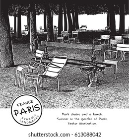 Park Chairs And A Bench Under The Trees In Garden Of Paris France