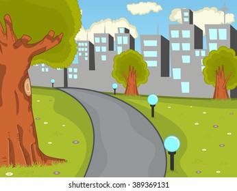 Park with city background cartoon vector illustration