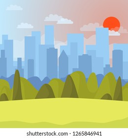 Park and cityscape with blue sky. Flat panoramic urban background. Vector illustration of city and park
