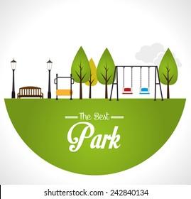 Park design over white background, vector illustration.
