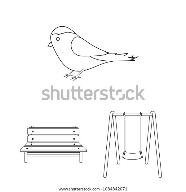 Park, equipment outline icons in set collection for design. Walking and rest vector symbol stock web illustration.