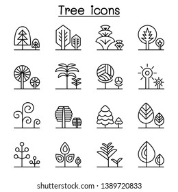 Park forest with trees, icon set in thin line style